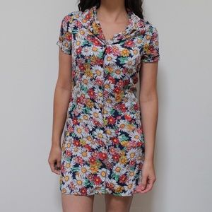 Reformation Floral Shirt Shirt Mini Dress XS S 2